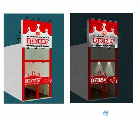 Thiết kế 3D biển quảng cáo siêu thị BIBO MART